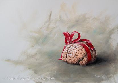 Das Geschenk, Acrylbild von Thomas Guggemos, Gehirn mit Schleife