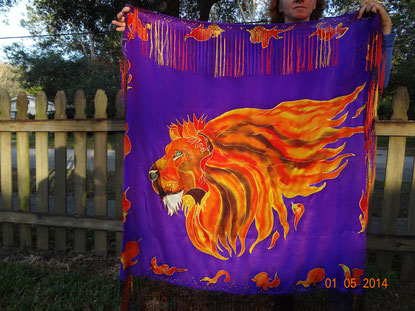 Lion made of fire on a deep purple background with flames all around.  Pure silk prayer shawl, hand-dyed.