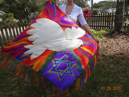 Profile of white dove with Star of David on fringed silk prayer shawl