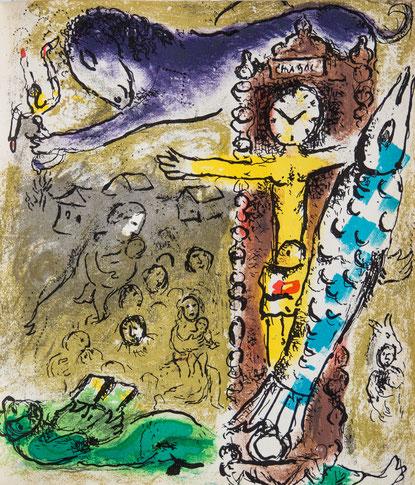 MARC CHAGALL, original lithograph, CHRISTUS IN DE KLOK, M.196, 1957