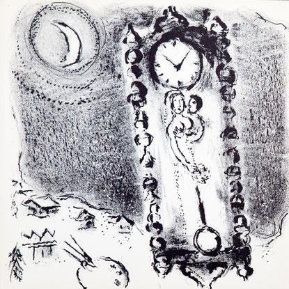 MARC CHAGALL, original lithograph, de klokken van Chagall, M.112, 1956