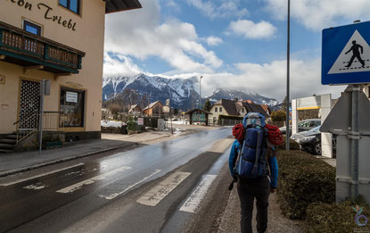 Our first part of our way up to the mountain Schneeberg (in the background) was along the street, before an friendly elderly man stopped to take us the foot of the mountain.