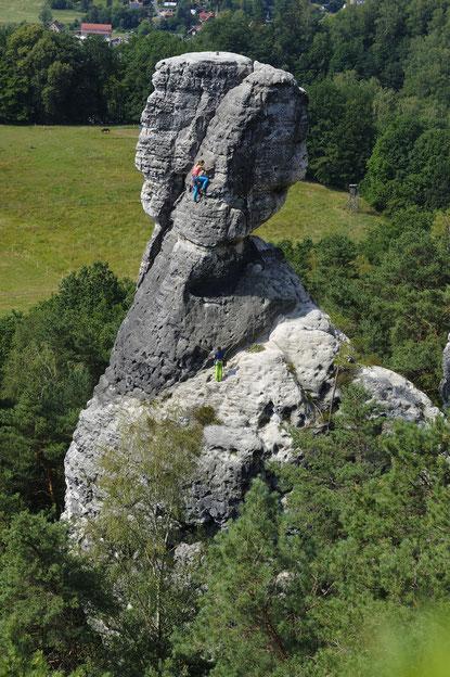 """""""Klettern im Sandstein"""", Türkenkopf, Rathen, Wolkenkante, VI"""