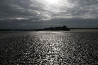 Glänzendes Wattenmeer.