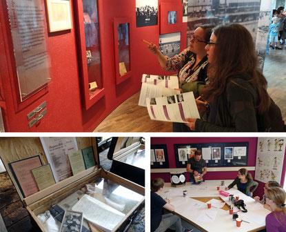 Im Erinnerungszentrum Kamp Westerbork (Bilder oben und unten links) eprobte das Fachseminar Unterrichtsmaterial. Zu einem Workshop im Comicmuseum lud Dim Junius ein (Bild unten rechts). Fotos: Ulrichs
