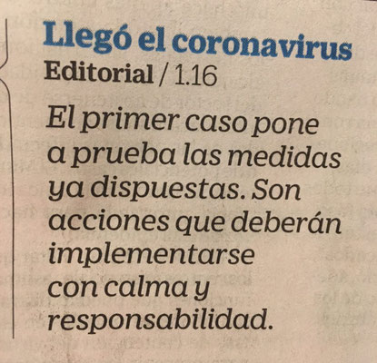 Title in El Tiempo newspaper (Colombia) announcing the virus' arrival