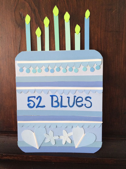 52nd birthday card made with blue paint chip samples