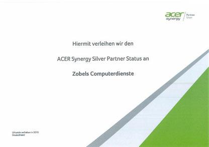 Urkunde zur Ernennung von Zobels Computerdienste zum Synergy Silver Partner
