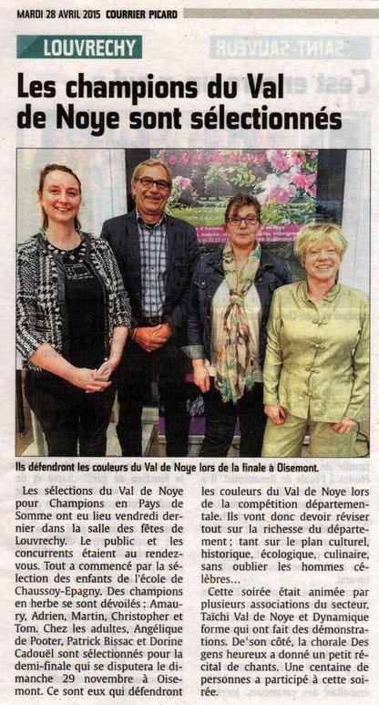 Soirée de Louvrechy - Article du Courrier Picard - Avril 2015