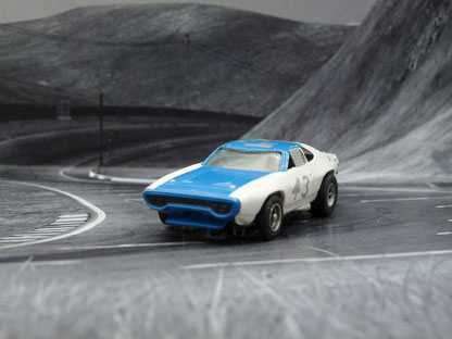 AURORA AFX Plymouth Road Runner Stock Car weiß/blau #43