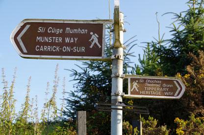 Munster WayとTipperary Heritage Wayの道標