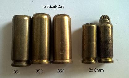 Unterschiedliche Grenaillenpatronen. Die rechte .35R ist aus dem vollen Material gedreht, vermutlich in einer Hinterhofwerkstatt. (Polizei Lehrmittelsammlung)