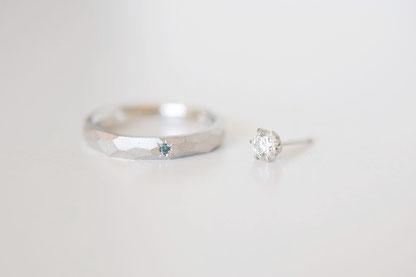 作りかえた結婚指輪と迫力ある 0.262ct のダイヤピアス