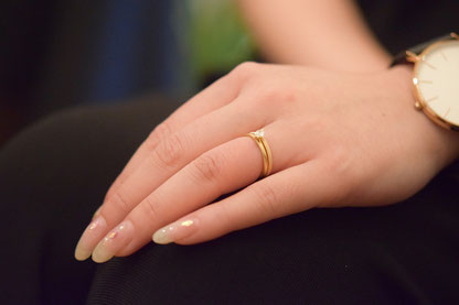 以前、お求め頂いた婚約指輪との重ねづけ