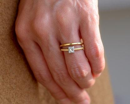 プリンセスカットダイヤモンドの着用