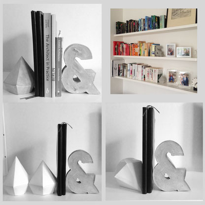 Custom Concrete Bookends, from the paper model to finished design by PASiNGA