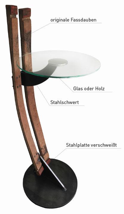 Designer Weintisch aus Eiche