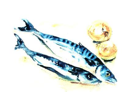 Hilja Brücher - Stilleben mit Fischen, Abb. Galerie+Atelier Remise