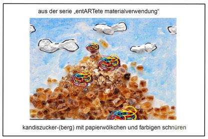 kandiszucker-(berg) mit papierwölkchen und farbigen  schnüren, J.W.