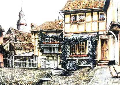 Peter Manderbach - Altstadt Bad Nauheim, Kalenderblatt Oktober 2002, Förderverein Klaus Neuhöfer, Bad Nauheim