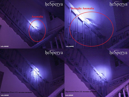 Collage foto dell'anomalia e delle ripetizioni delle prove
