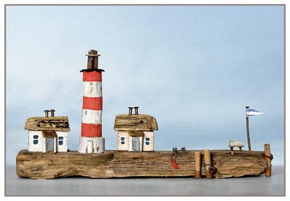 Christine Grandt - Treibholzkunst, maritime Geschenkidee zum Geburtstag Hochzeit Jubiläum Leuchtturm mit zwei Häusern Westerhever