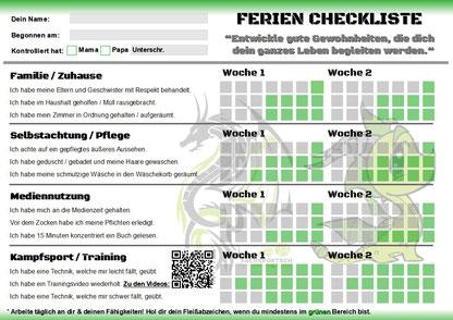 Fachsportschule - Kampfsport Ferien Checkliste