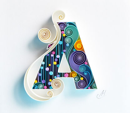 quilling, A - Quilling wall paper art, Custom, paper art, Letter A, Monogram, Framed, Personalized, Gift quilling art, Design, Decor, Gift birthday, Larissa Zasadna, квиллинг, бумага, буква А, Лариса Засадная
