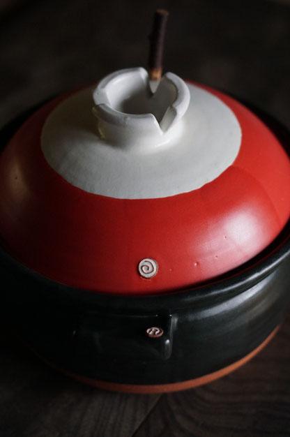 仲本律子仲本律子 R工房 女性陶芸家 土鍋作品 ブログ ご飯土鍋 赤い土鍋