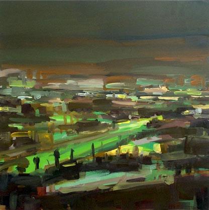 Figueroa Street 2009, Öl auf Nessel, 100 x 100 cm, Privatbesitz