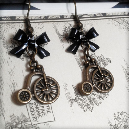 Steampunk Penny Farthing earrings with Black Bows