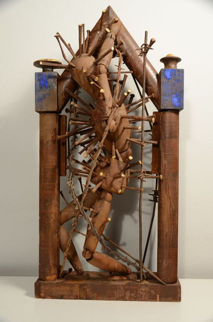 "Artist Bob Rizzo made this shrine ""St Sebastian"" in 2001"