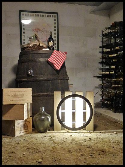 luminaire métal et bois, aménagement cave l' Atelier Carrotte