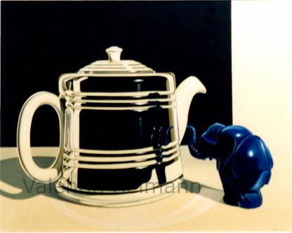 Begrüßung, Elefamt in blau und Teekessel