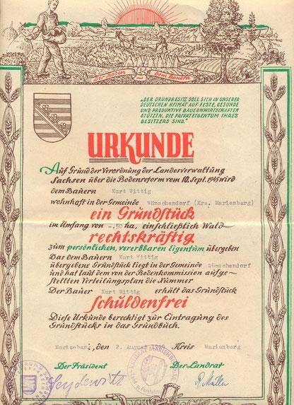 Bild: Teichler Wünschendorf Erzgebirge Urkude Bodenreform
