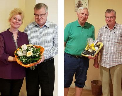 1. Vorstand Klaus Dill gratuliert Manuela Städler und Karl Gstalmeyer zum runden Geburtstag