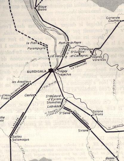 Carte des voies romaines dont la voie principale allant à Narbonne via Bazas, la Via Aquitana.