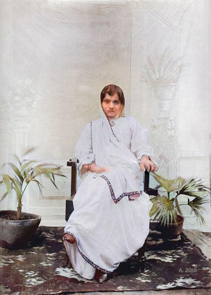 Shireen Irani - Col. Irani's wife. Image colourized by Anthony Zois.