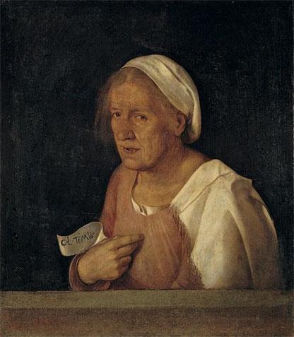 """Giorgione, """"La Vecchia"""", um 1510; Venedig, Galleria dell'Accademia"""