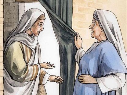 Elizabeth a été remplie d'esprit saint lorsqu'elle a reçu la visite de Marie, sa cousine. Le bébé a brusquement remué en elle. Dieu a répandu son esprit saint ou Saint-Esprit sur ses serviteurs qui ont alors été remplis d'esprit saint.