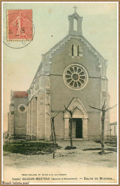 Gujan-Mestras autrefois : Chapelle Saint Michel (timbre 1904, version colorisée), Bassin d'Arcachon (carte postale, collection privée)