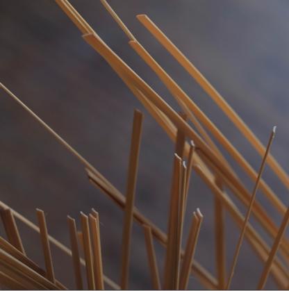 竹ひごの断面は弧を描く