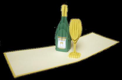 Carte Pop-Up Champagne - carte Bonne Année - carte kirigami festive