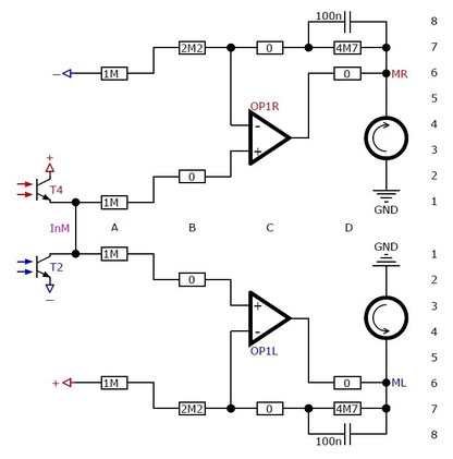 variable control circiut of a Line-Follower with operational amplifiers