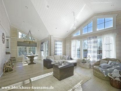 Wohnblockhaus mit viel Licht  - Fenster - Fenstertehnik - Blockhaus bauen - Finnisches Blockhaus als Einfamilienhaus