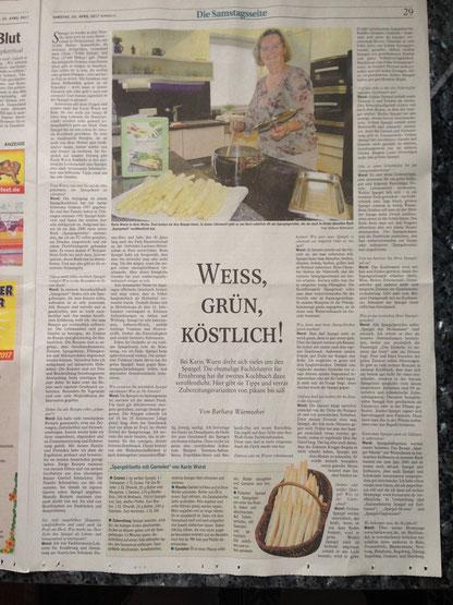 Donauwörther-Zeitung  Weiss, grün, köstlich! Karin Wurst  21. April 2017, Rezept: Spargelrisotto mit Garnelen