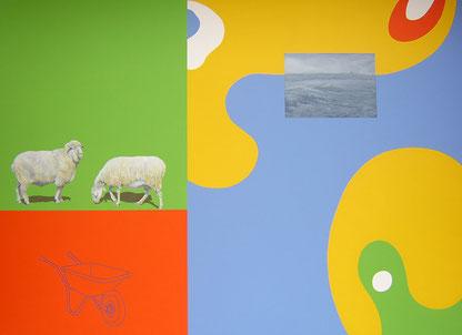 Angelus (Millet) Feedback serie / Mixed media / 86.6 x 63 in / 2012