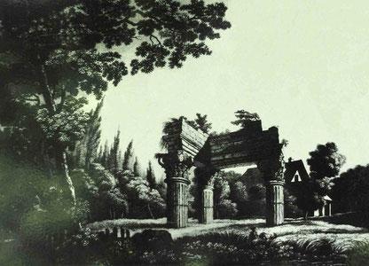 Die drei Säulen des donnernden Jupiters. Aquatina von Viktor Heideloff, 1800, Foto: Landesbildstelle Württemberg