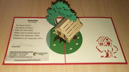 3D Klappkarte Baumhaus Gutschein Weihnachten
