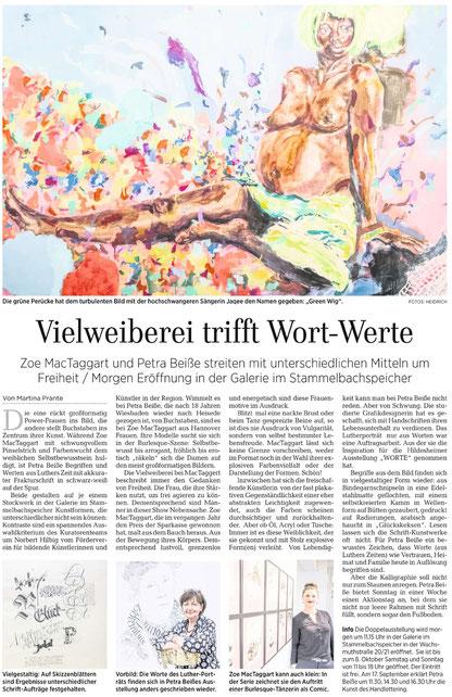 """Hildesheimer Allgemeine Zeitung, Kultur, """"Vielweibereri trifft Wort-Werte"""", 09.09.2017, S. 24"""